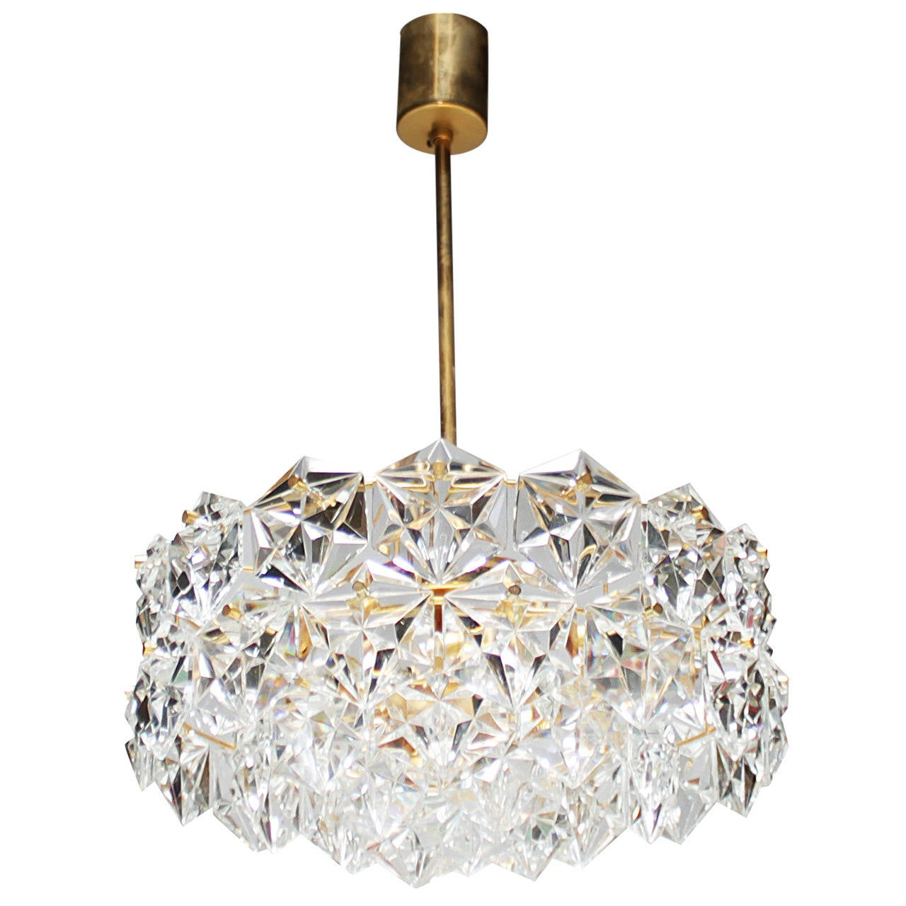 Gold plated kinkeldey chandelier with hexagonal crystals at 1stdibs gold plated kinkeldey chandelier with hexagonal crystals 1 mozeypictures Image collections