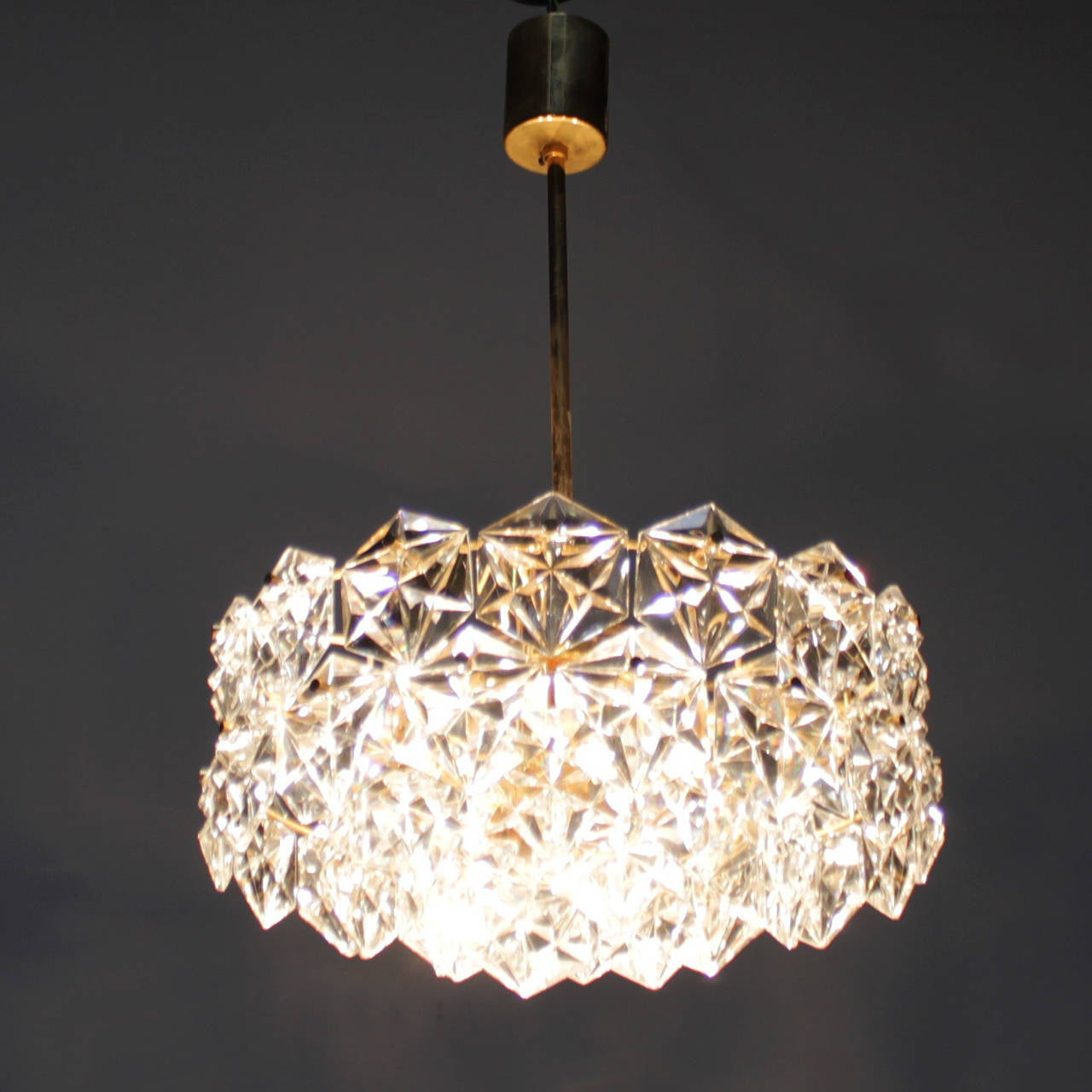 Gold-Plated Kinkeldey Chandelier with Hexagonal Crystals at 1stdibs