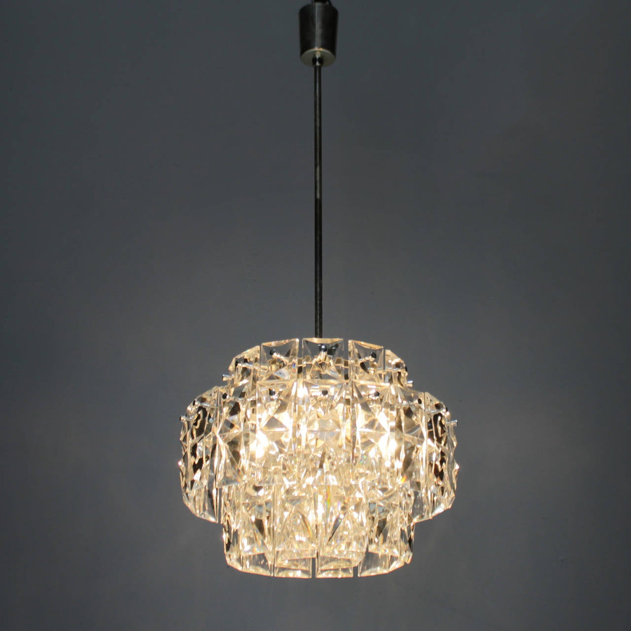 Nickel plated kinkeldey chandelier with rectangular crystals for chandelier with rectangular crystals for sale this classic yet modern exquisite kinkeldey lamp has four tiers and is fitted with 48 arubaitofo Images