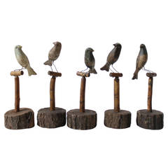 Five Wooden Scandinavian Decoy Birds