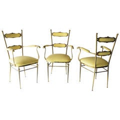 Three Brass French Chairs