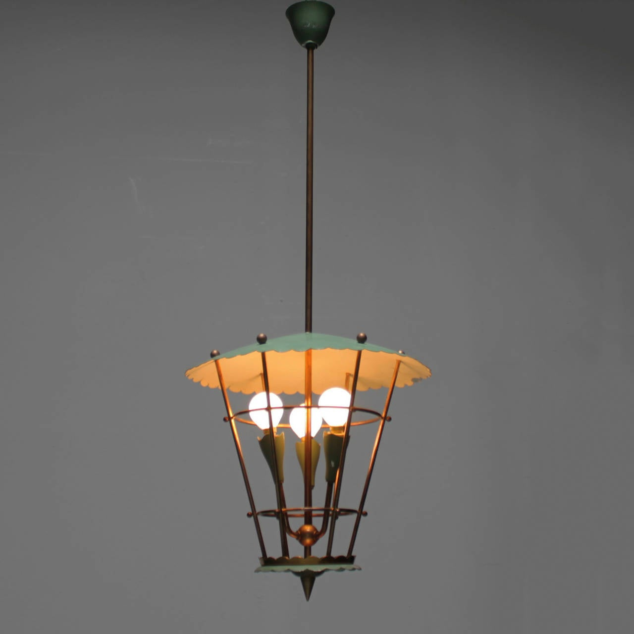 Italian lantern with three lights. Copper with green lacquered metal.