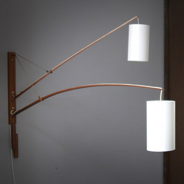 Danish teak double wall lamp image 4