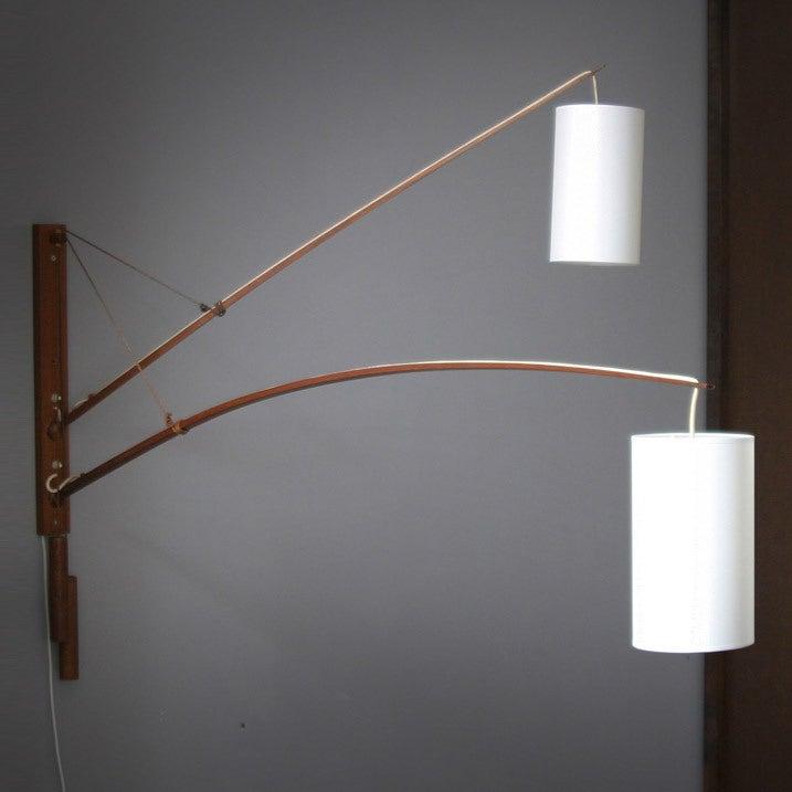 Teak Danish teak double wall lamp