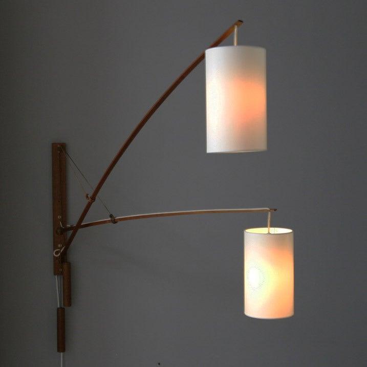 Danish teak double wall lamp 2