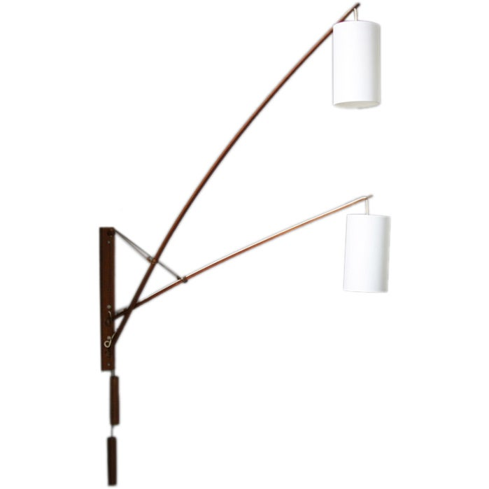 Danish teak double wall lamp