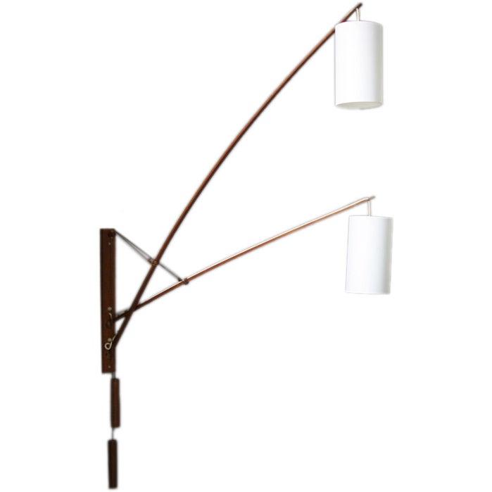Danish teak double wall lamp