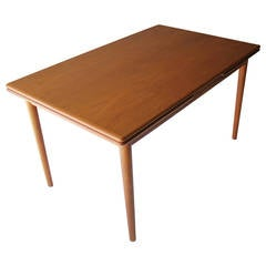 Danish Teak Dining Room Table with Two Leaves