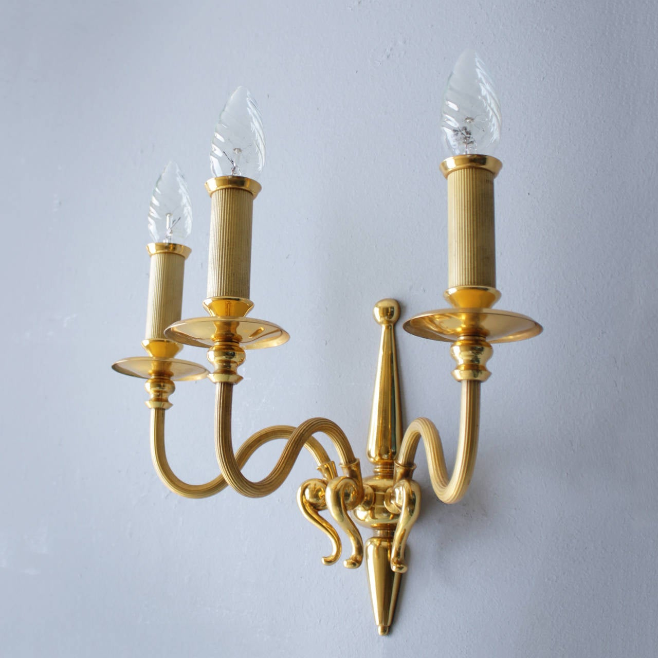 Brass Pair of Signed Lumi Milano Sconces For Sale
