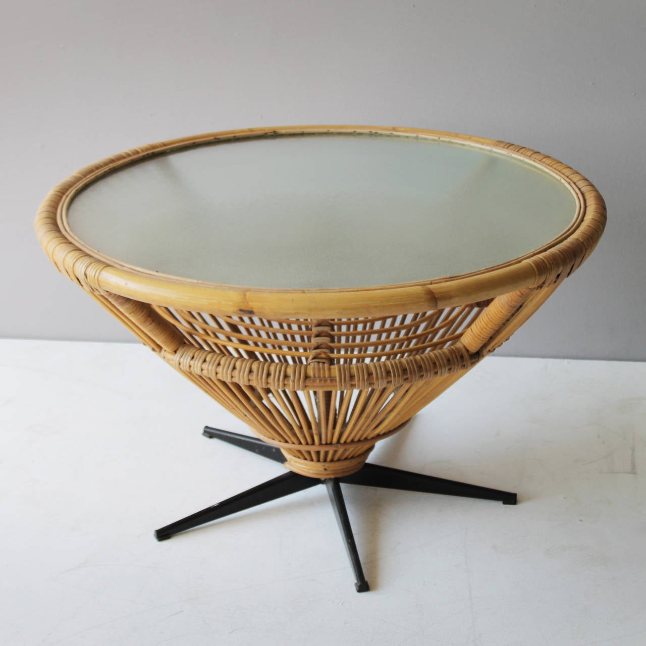 Chic Rattan Coffee Table: Rattan Coffee Table In The Style Of Franco Albini At 1stdibs