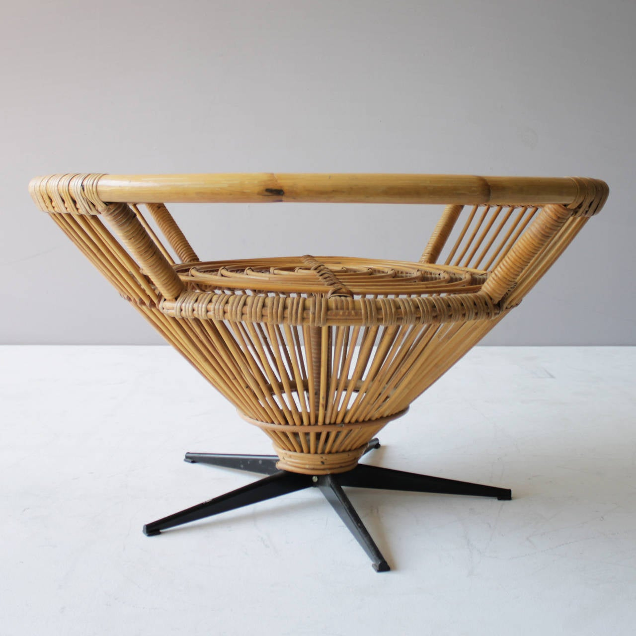 Rattan coffee table in the style of franco albini for sale for Rattan coffee table