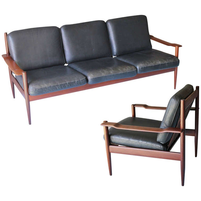 Danish Couch And Chair In The Manner Of Grete Jalk For