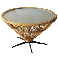 rattan coffee table in the style of franco albini