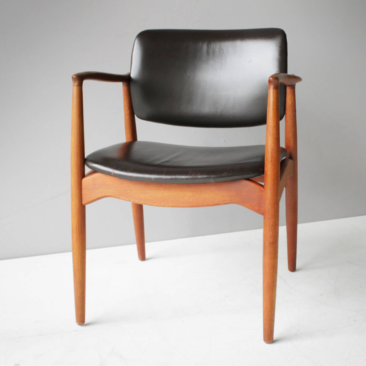 Danish Teak and Leather Chair by Eric Buck for Ø. Mobler, Denmark For Sale