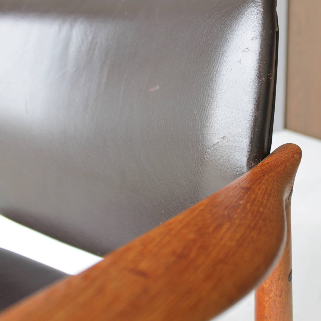 Teak and Leather Chair by Eric Buck for Ø. Mobler, Denmark For Sale 3