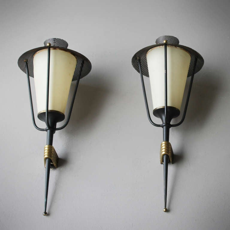 Three beautifully elegant wall lights and a pendant by Arlus France. Good, fully original, unrestored.  Together with companies like Disderot, Lunel and Rispal, the Paris based firm Maison Arlus had a strong influence on the modernization of