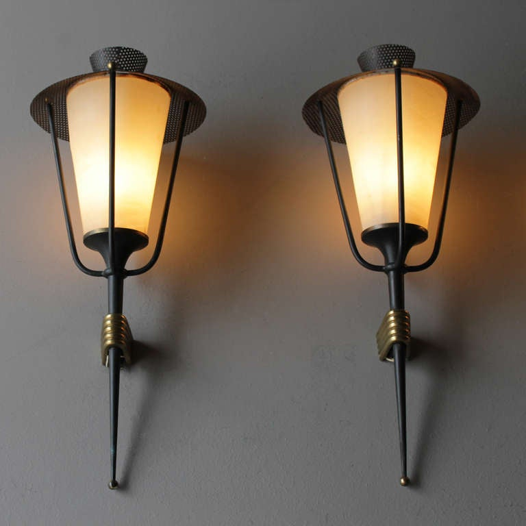 Mid-Century Modern Pair of French Sconces by Maison Arlus For Sale