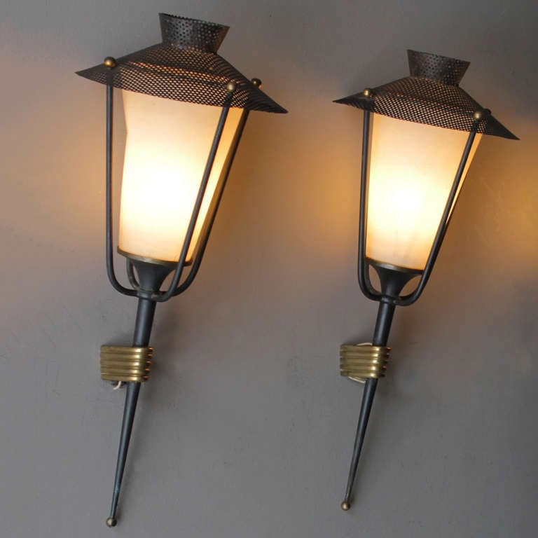 Mid-20th Century Pair of French Sconces by Maison Arlus For Sale