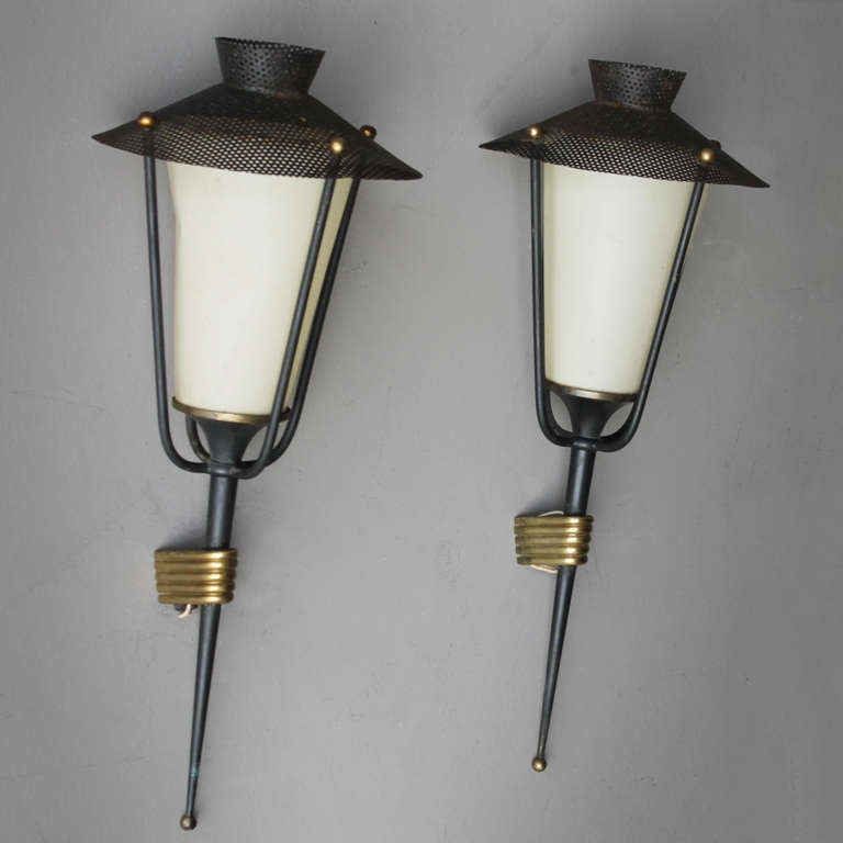 Metal Pair of French Sconces by Maison Arlus For Sale
