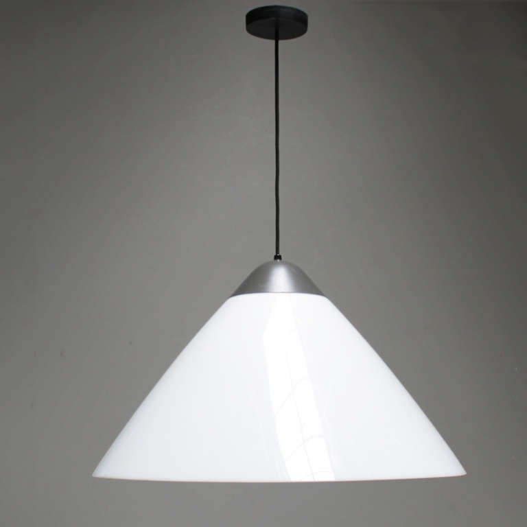Large Opala pendant by Hans J. Wegner for Louis Poulsen. Army grey lacquered, shade opal high gloss acrylic. Marked with Louis Poulsen label.  We have also an Opale table lamp in stock (see pictures).  Without a doubt Hans J. Wegner (1914-2007)