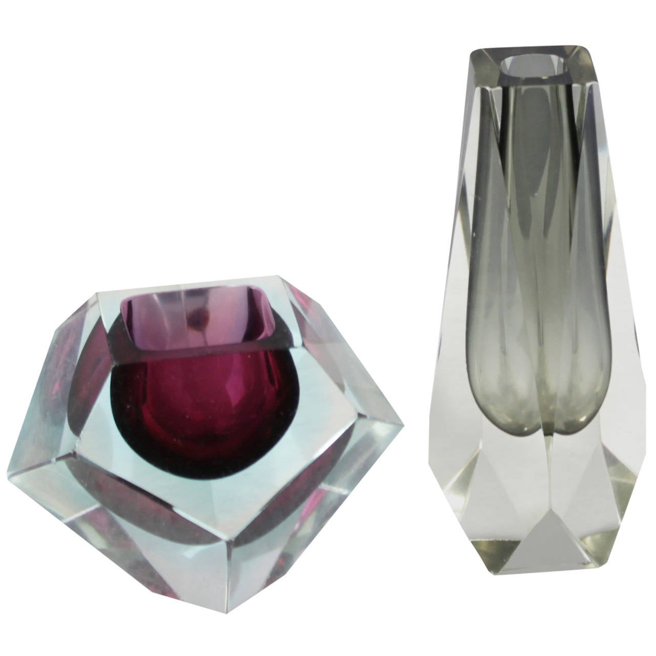 Pair of murano sommerso faceted glass vases at 1stdibs pair of murano sommerso faceted glass vases for sale reviewsmspy
