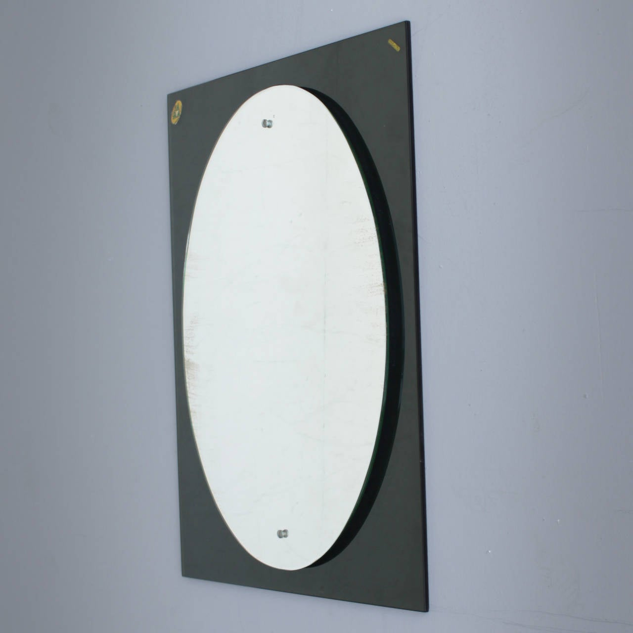 Mid-Century Modern Heavy Italian Crystal Glass Mirror Marked Caprotti For Sale