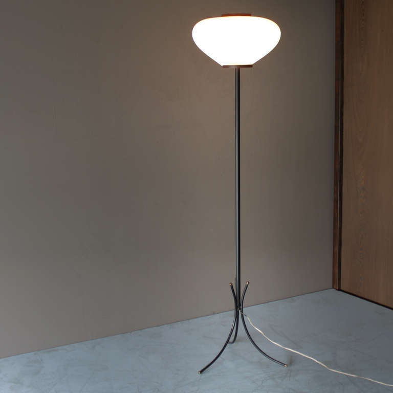 Mid-Century Modern Tripod Floor Lamp Attributed to Maison Rispal For Sale