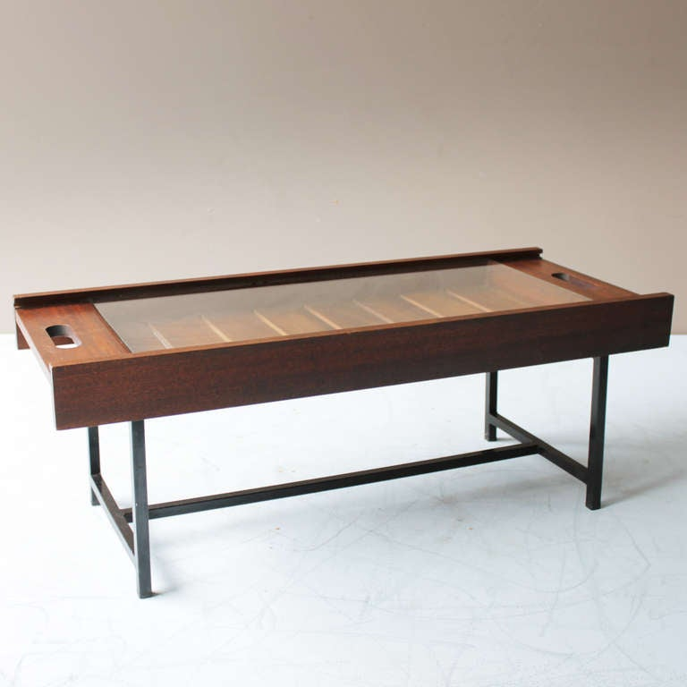 Teak Coffee Table with Glass Top at 1stdibs