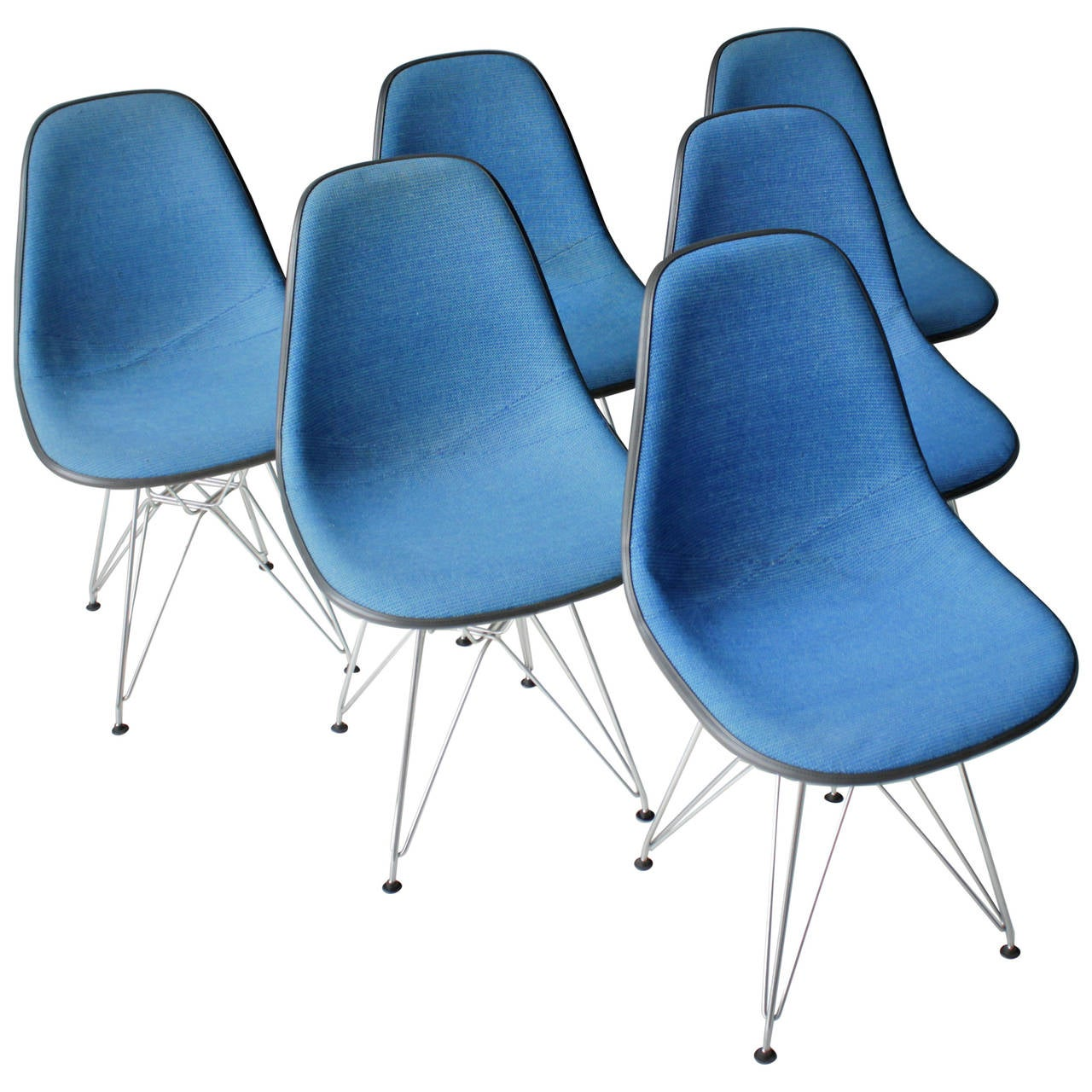 Early Eames Eiffel Chairs, \'DSR\' Molded Fiberglass Wire Base Herman ...