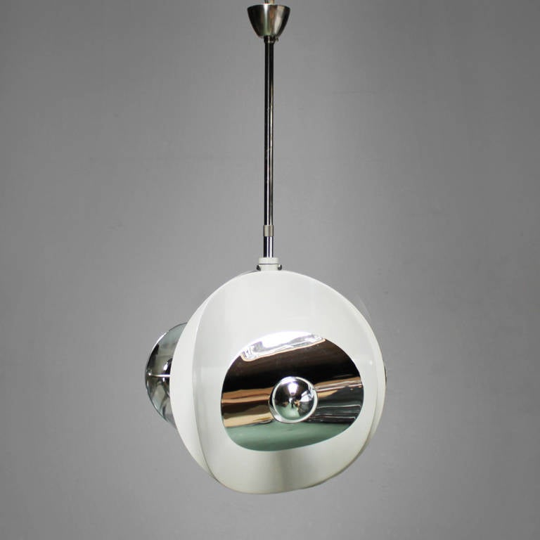 Metal Set of Three Italian Mirror Pendants by Brevettato For Sale