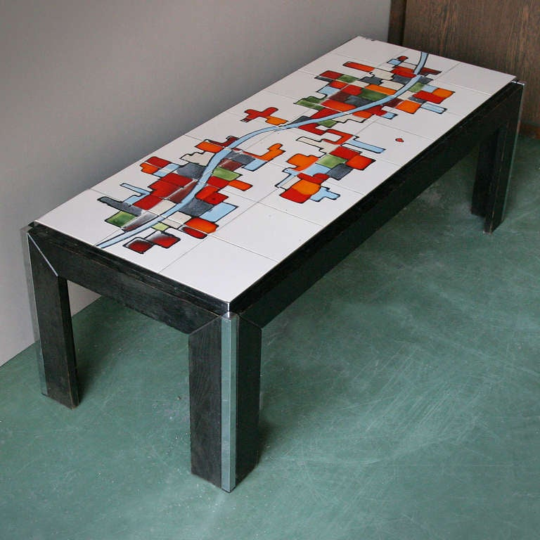 Tile Coffee Table Set: Ceramic Tile Top Coffee Table For Adri Belgique For Sale
