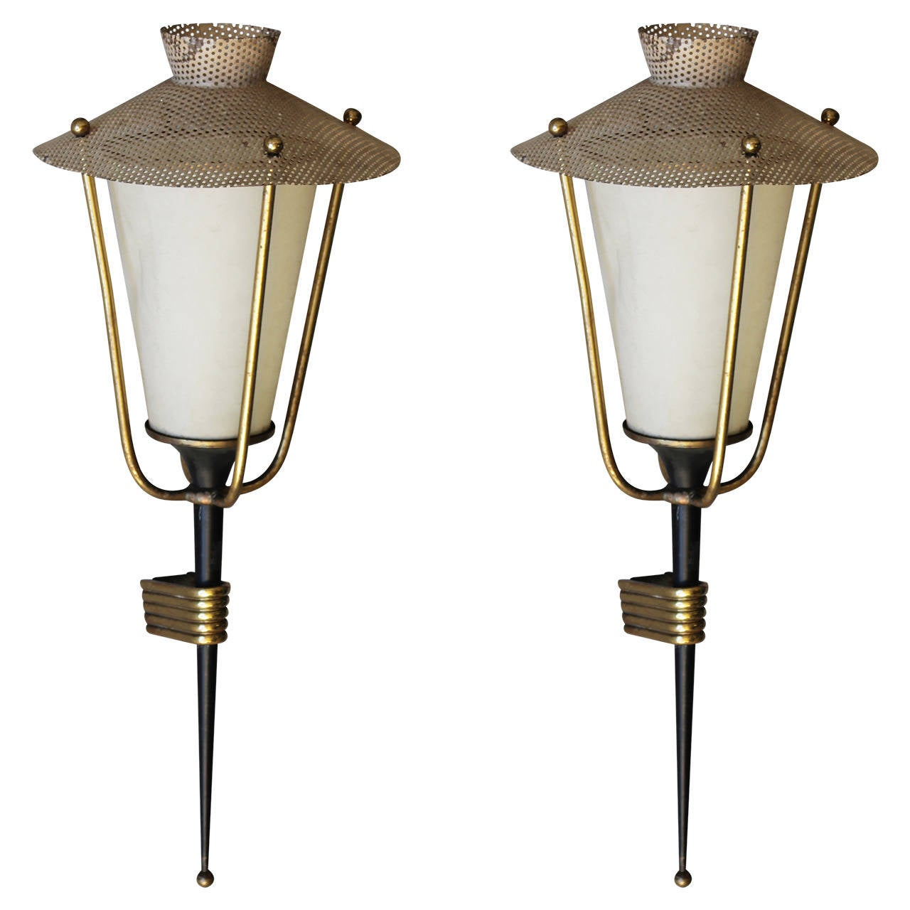 Pair of Corner Mounted Sconces by Maison Arlus