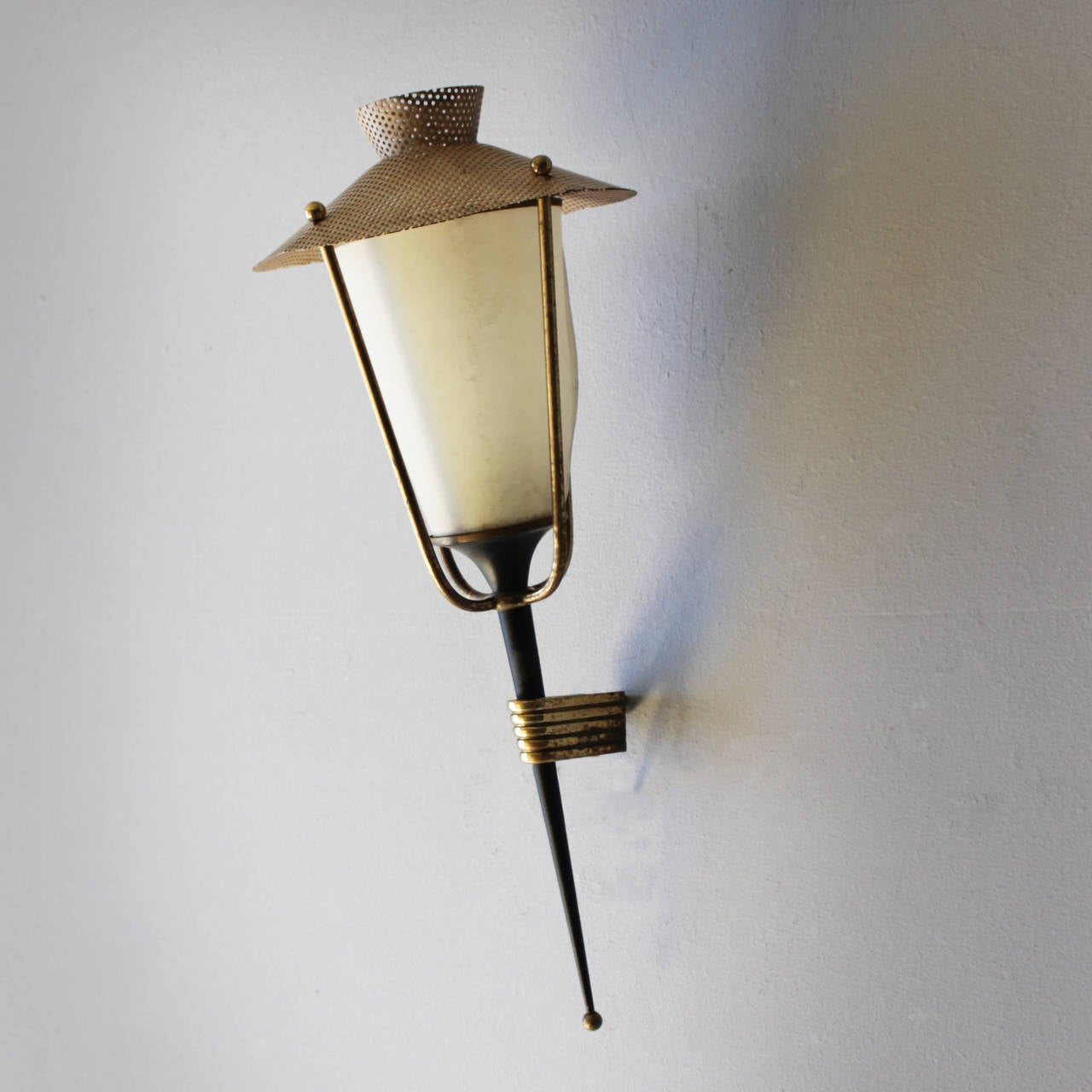 Corner Wall Mount Lamp : Pair of Corner Mounted Sconces by Maison Arlus For Sale at 1stdibs