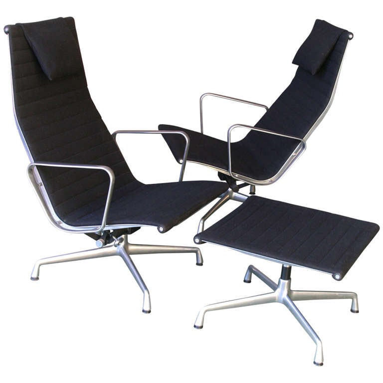 Eames Lounge Chairs With A Stool At 1stdibs