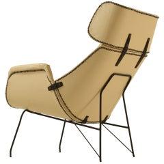 Cream white Italian lounge chair, 1950s