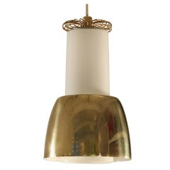 Paavo Tynell brass and opaline glass pendant lamp. Idman, Finland, 1950s