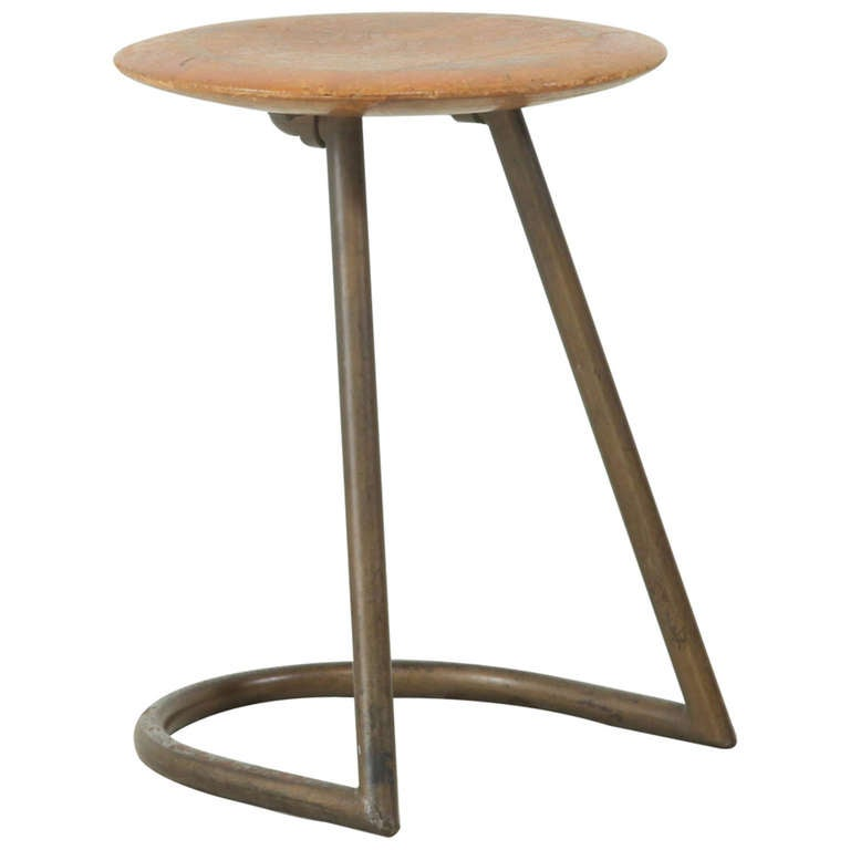 Bauhaus Stool With Metal Base At 1stdibs