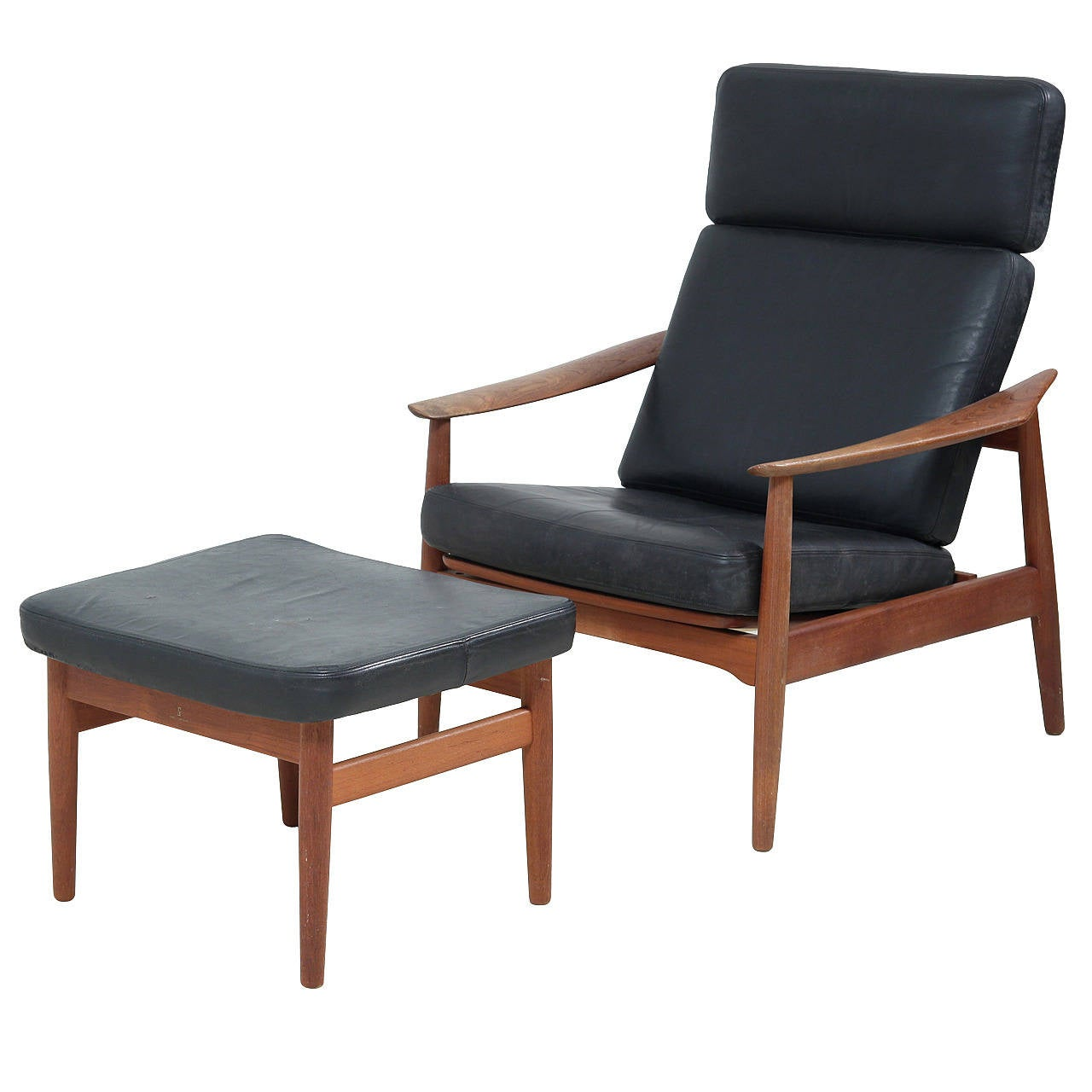 Reclining Arne Vodder Easy Chair and Footstool model FD 164