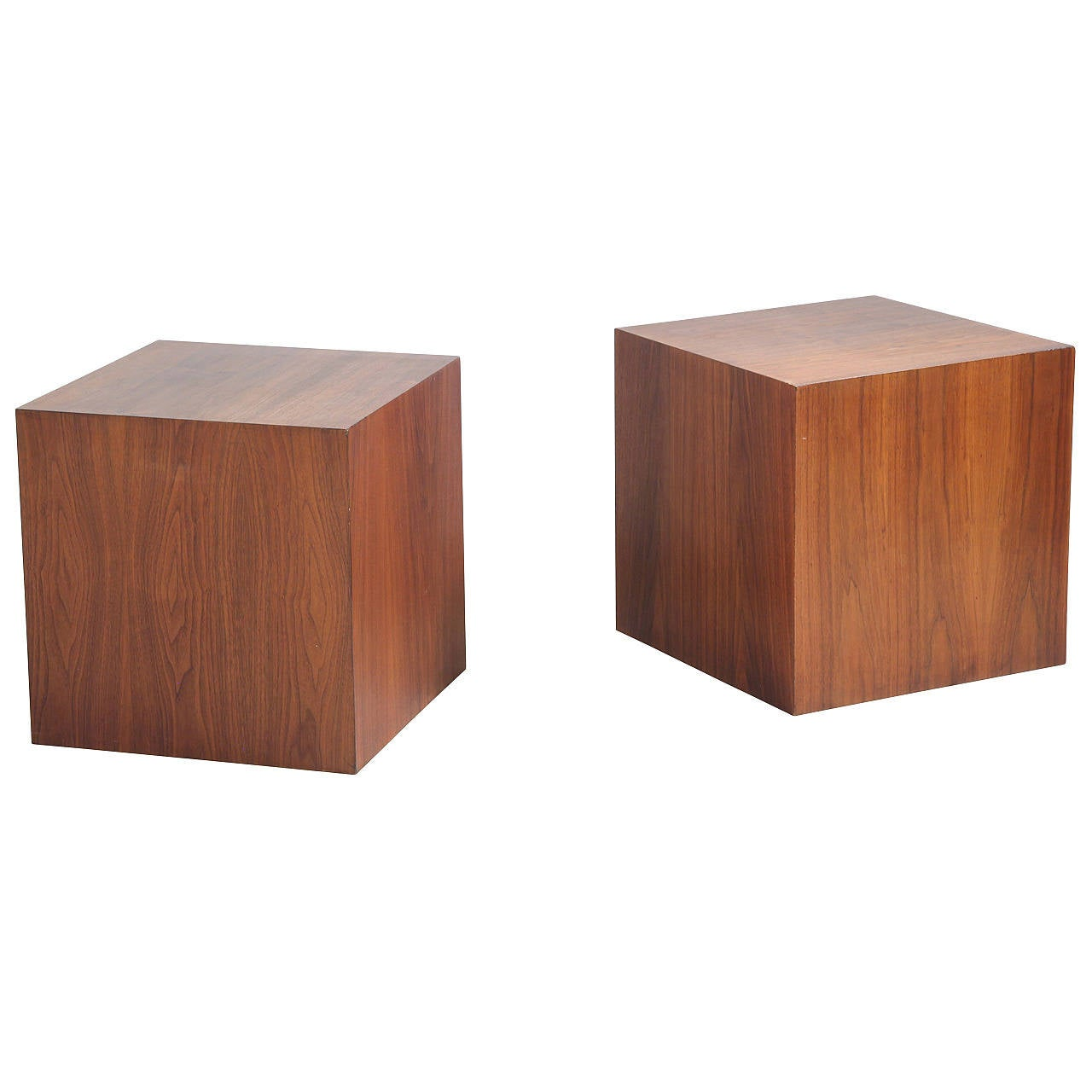 Walnut Cube Shaped Coffee Tables By Milo Baughman At 1stdibs