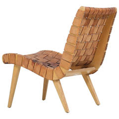 Jens Risom Leather Lounge Chair