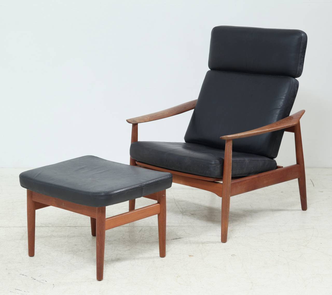 Strange Reclining Arne Vodder Easy Chair And Footstool Model Fd 164 Dailytribune Chair Design For Home Dailytribuneorg