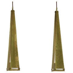 Pair of XL Conical Hand Hammered Brass Pendants, 1950s