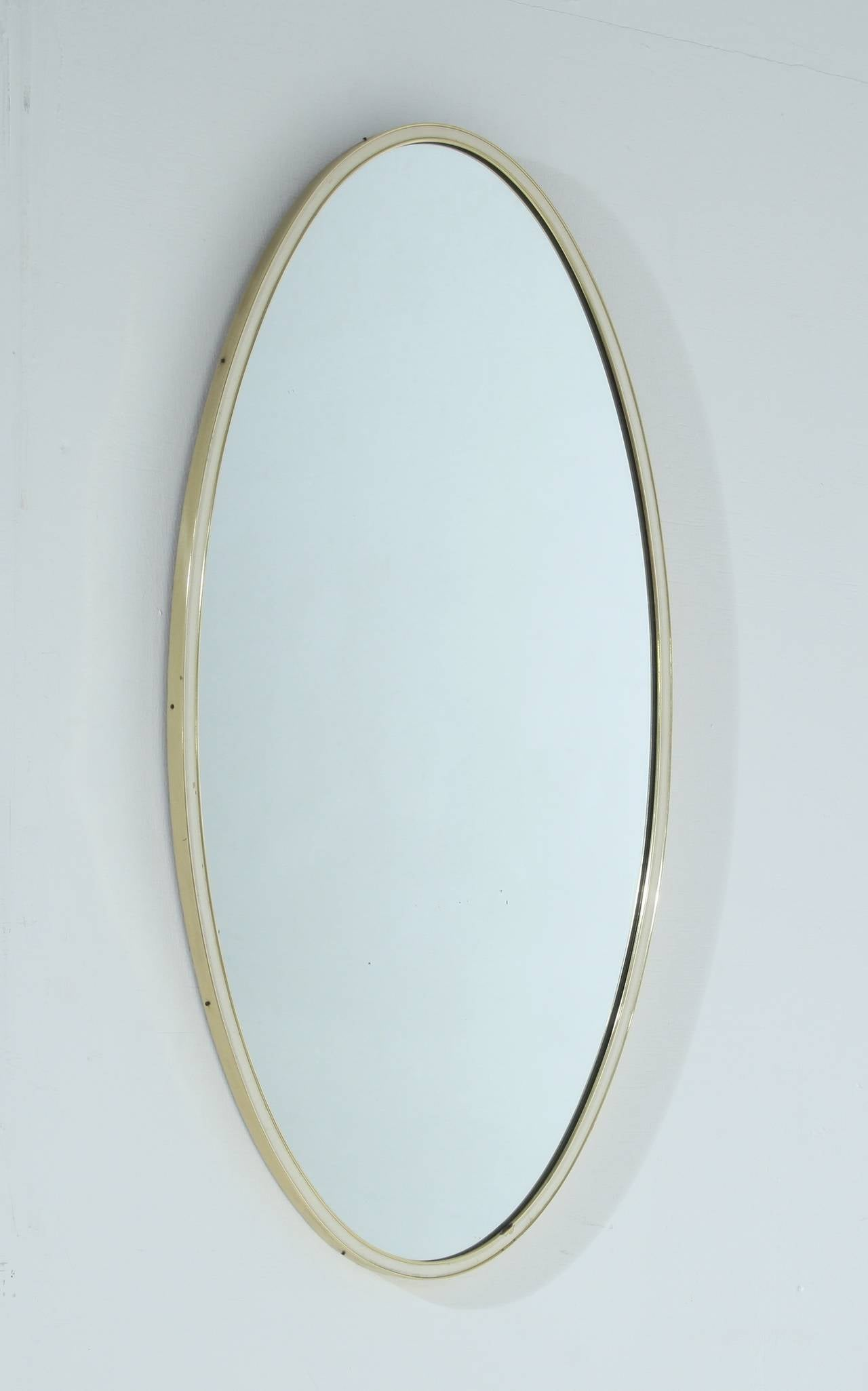 Oval Wall Mirror with Brass Frame, Germany, 1960s For Sale ...
