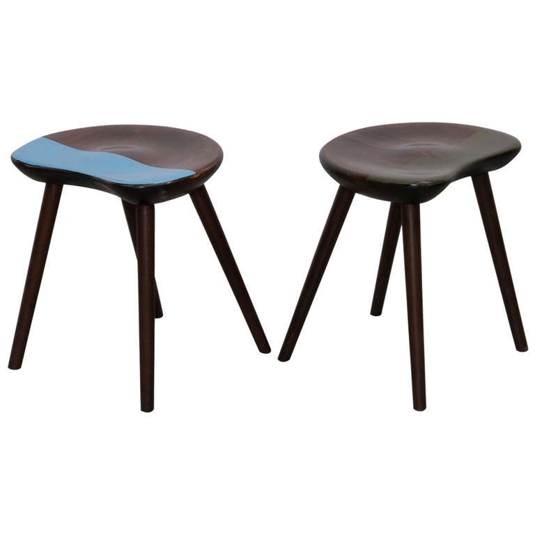 Pair Of Wooden Mainz Stools By Markus Friedrich Staab At