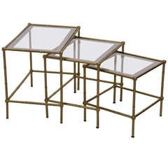Set of 3 Bamboo Nesting Tables in the Manner of Maison Bagues in Brass and Glass