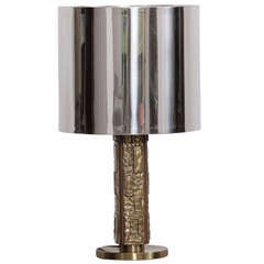 Angelo Brotto Table Lamp With Bronze Foot And Chrome Shade By Esperia
