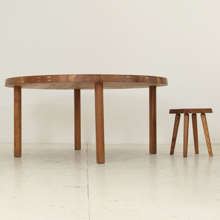 Extra Large Pierre Chapo Round Dining Table TO2E For Sale At 1stdibs