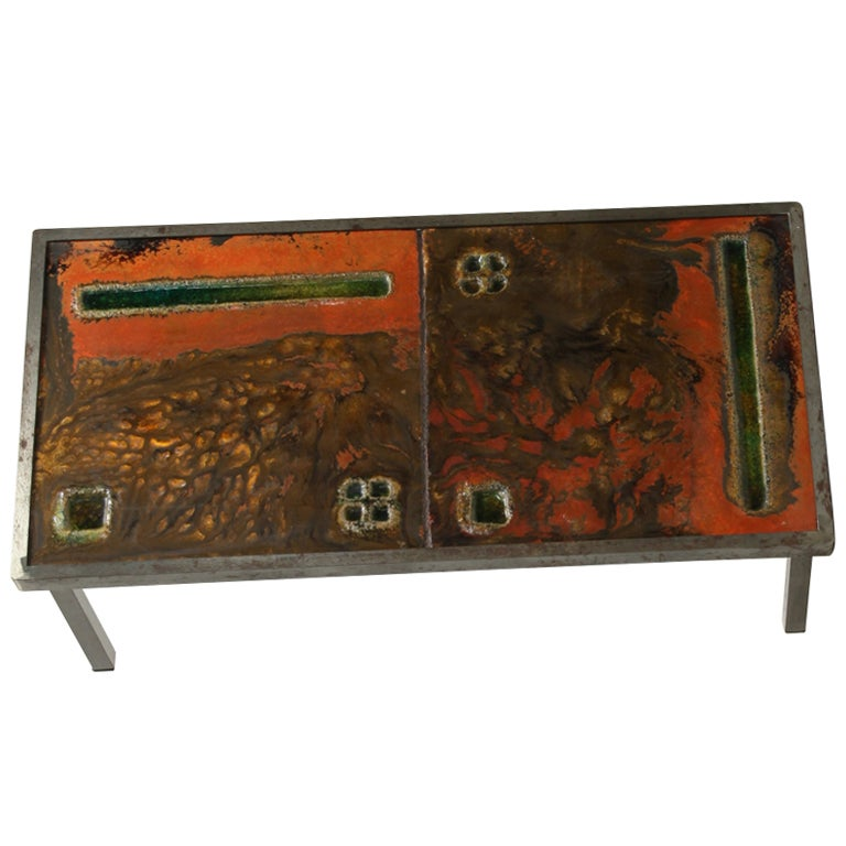 French ceramic coffee table, 1950s