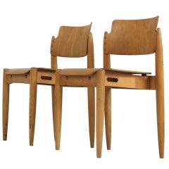 Rare pair stackable Tapiovaara 'Wilman' chairs