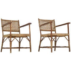 Pair Late 1940s Arts and Crafts Willow Wood Chairs